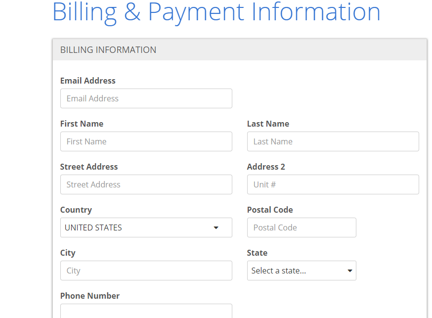 Bluehost billing and information